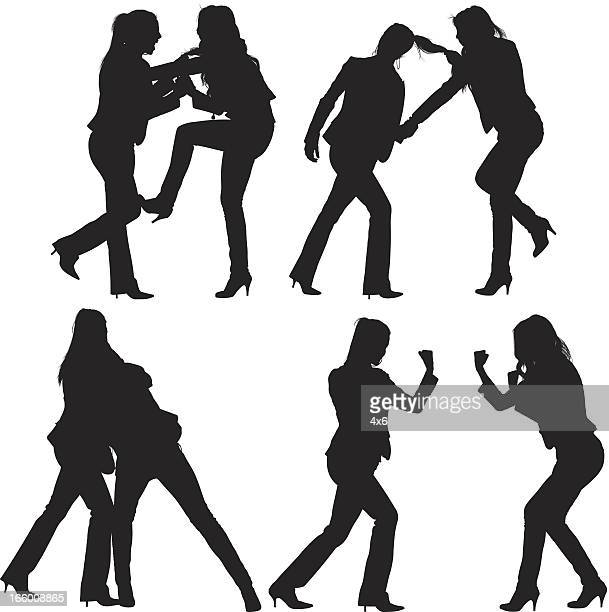 multiple image of women fighting - fighting stance stock illustrations, clip art, cartoons, & icons