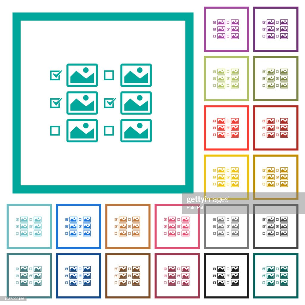 Multiple image selection with checkboxes flat color icons with quadrant frames