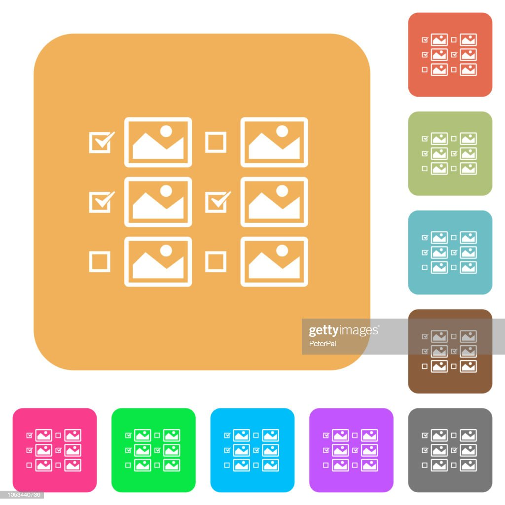 Multiple image selection with checkboxes rounded square flat icons