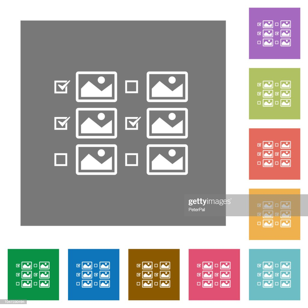 Multiple image selection with checkboxes square flat icons