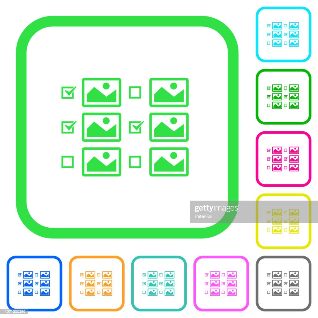 Multiple image selection with checkboxes vivid colored flat icons