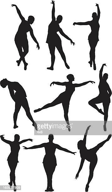 multiple images of a ballet dancer - standing on one leg stock illustrations, clip art, cartoons, & icons