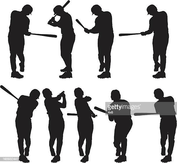 bildbanksillustrationer, clip art samt tecknat material och ikoner med multiple images of a baseball player in action - basebollslag