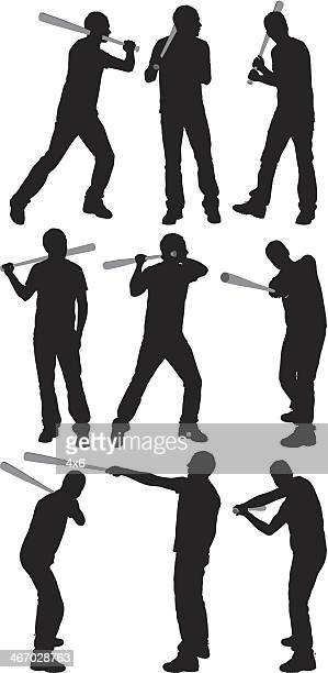 multiple images of a baseball player in action - baseball bat stock illustrations