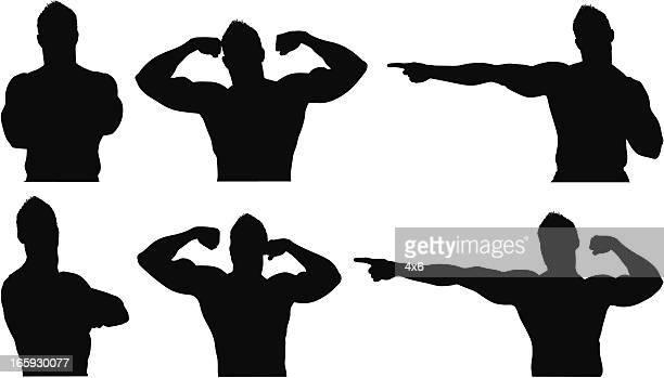 ilustraciones, imágenes clip art, dibujos animados e iconos de stock de varias imágenes de un boxeador en diferentes poses - flexionar los músculos