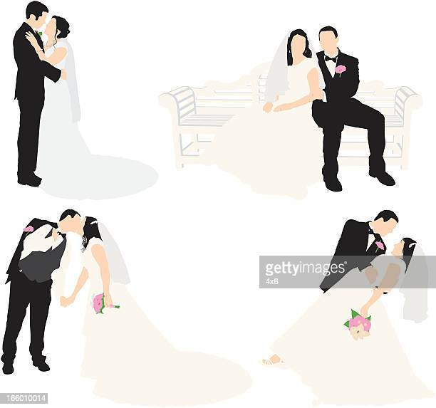 Multiple images of a bride and groom