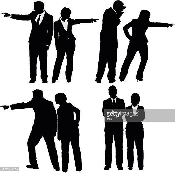 illustrations, cliparts, dessins animés et icônes de plusieurs images d'affaires couple gestes - deux personnes