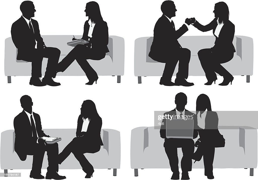 Multiple images of a business couple : stock illustration
