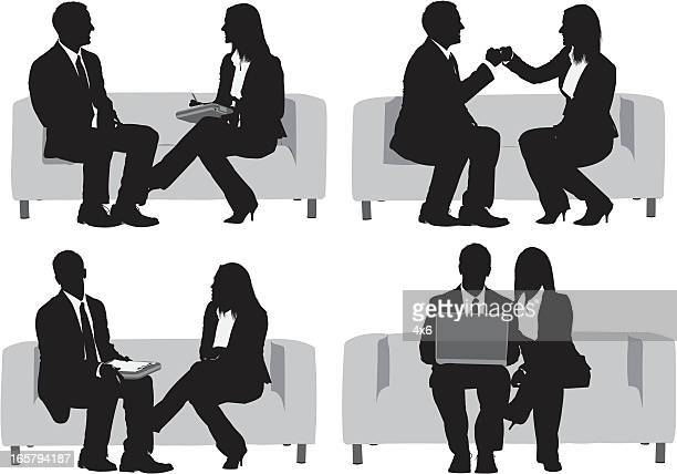 Multiple images of a business couple