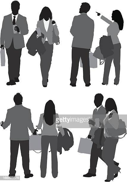 multiple images of a business couple - multiple image stock illustrations, clip art, cartoons, & icons