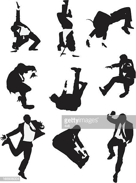 Multiple images of a businessman in action