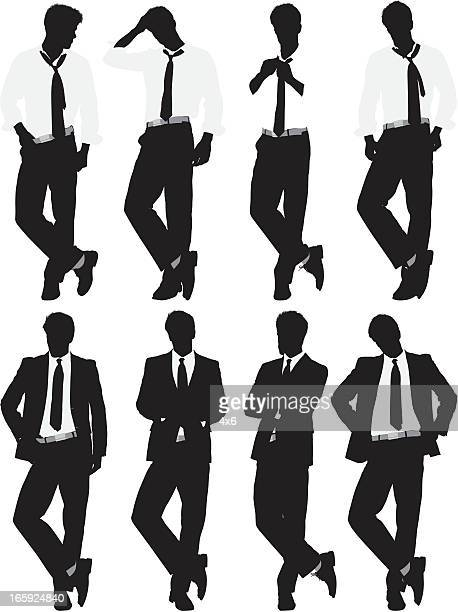 Multiple images of a businessman in different poses