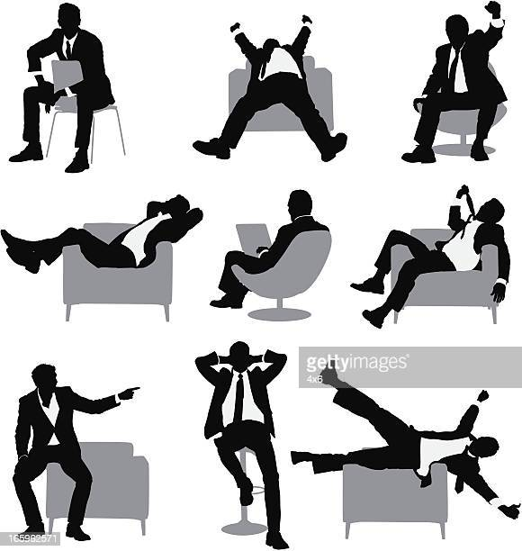 multiple images of a businessman in different poses - chaise stock illustrations, clip art, cartoons, & icons