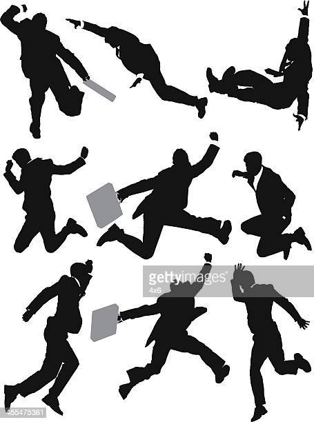 multiple images of a businessman in hurry - multiple image stock illustrations, clip art, cartoons, & icons