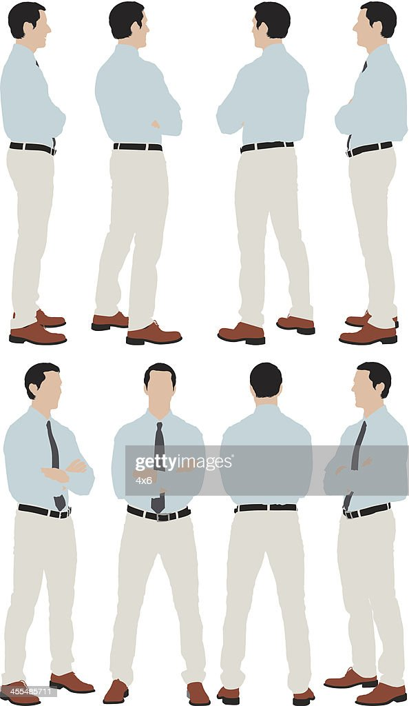 Multiple images of a businessman standing : stock illustration