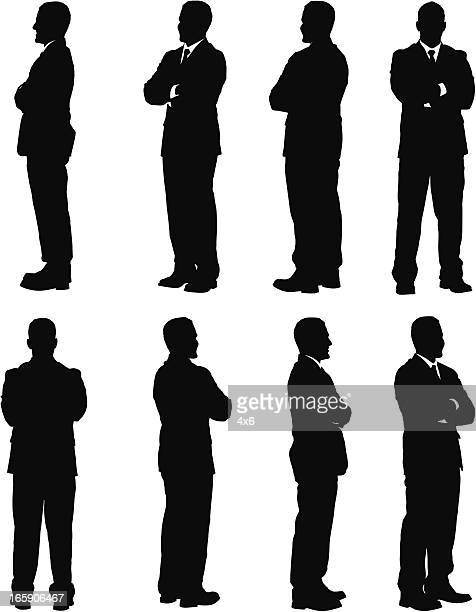 multiple images of a businessman standing with his arms crossed - one man only stock illustrations