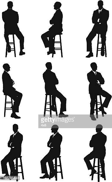 multiple images of a businessman - stool stock illustrations, clip art, cartoons, & icons