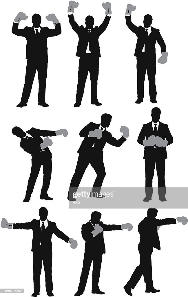 Multiple images of a businessman with boxing gloves