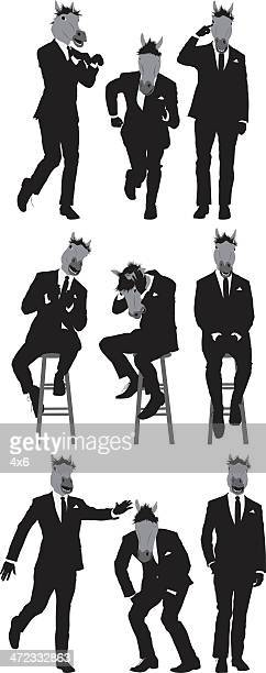 multiple images of a businessman with horse's head - obscured face stock illustrations, clip art, cartoons, & icons