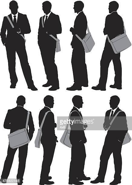 Multiple images of a businessman with shoulder bag