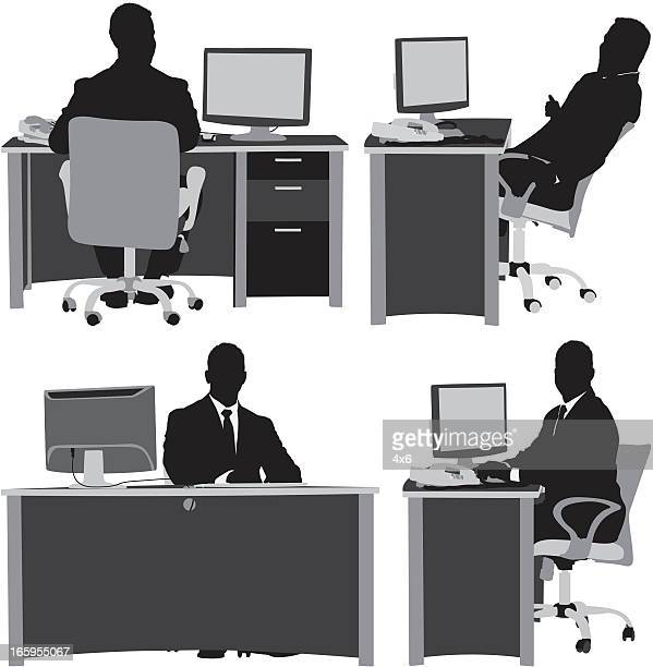 Multiple images of a businessman working in office