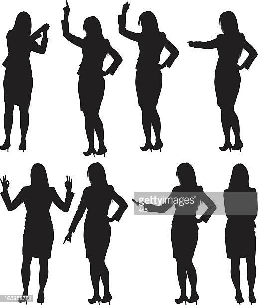 multiple images of a businesswoman gesturing - unrecognisable person stock illustrations