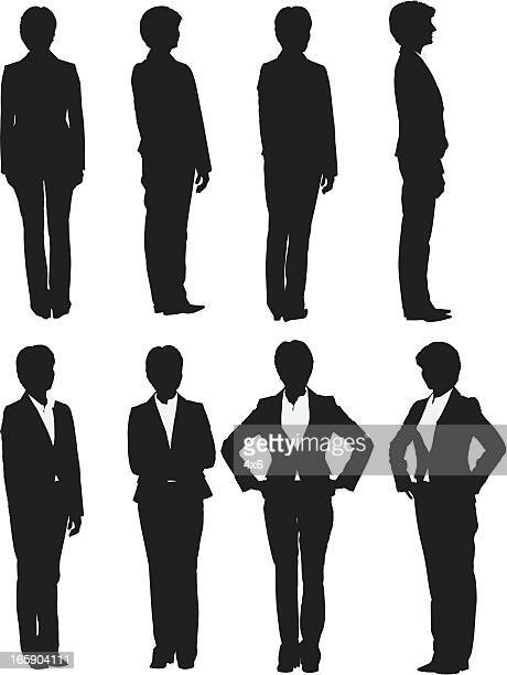 Multiple images of a businesswoman posing