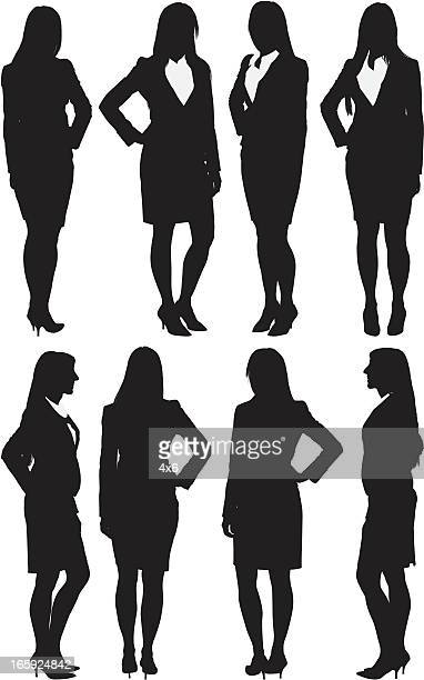 Multiple images of a businesswoman standing