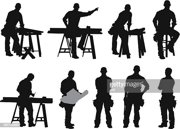 ilustrações, clipart, desenhos animados e ícones de várias imagens de um carpenter - estereótipo de classe trabalhadora