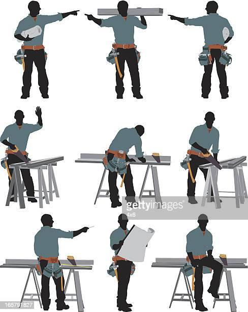 ilustrações, clipart, desenhos animados e ícones de várias imagens de um carpenter - plano descrição geral