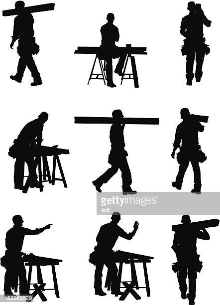 multiple images of a carpenter - carpenter stock illustrations