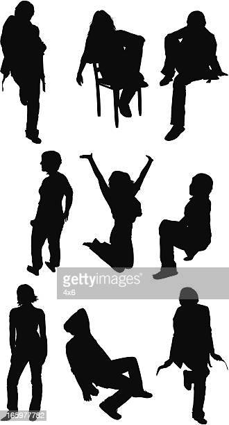 Multiple images of a casual woman posing