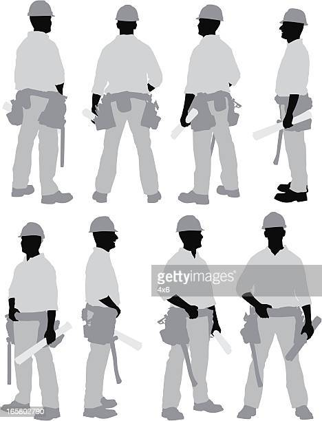 ilustrações, clipart, desenhos animados e ícones de várias imagens de um trabalhador de construção - estereótipo de classe trabalhadora
