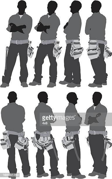 multiple images of a construction worker - tool belt stock illustrations, clip art, cartoons, & icons