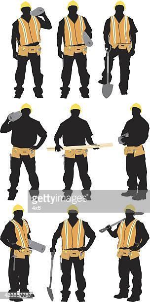 ilustrações, clipart, desenhos animados e ícones de várias imagens de um trabalhador de construção - cinto de ferramentas