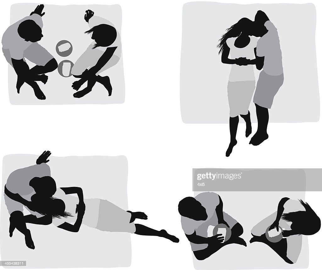 Multiple images of a couple at picnic : stock illustration