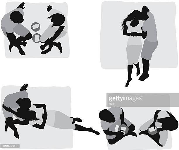 Multiple images of a couple at picnic