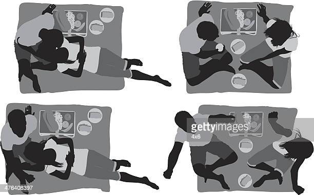 multiple images of a couple at picnic - picnic blanket stock illustrations, clip art, cartoons, & icons