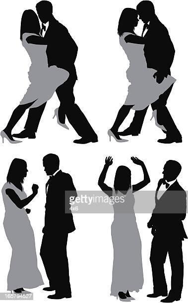 ilustraciones, imágenes clip art, dibujos animados e iconos de stock de múltiples imágenes de una pareja bailando - pareja bailando cuerpo entero