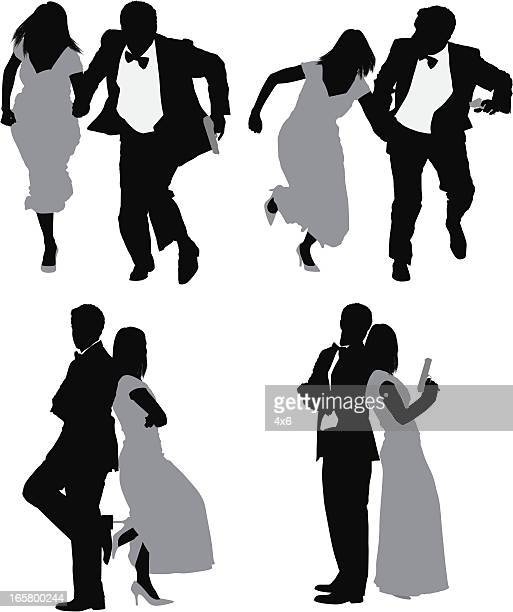 multiple images of a couple in different poses - back to back stock illustrations, clip art, cartoons, & icons