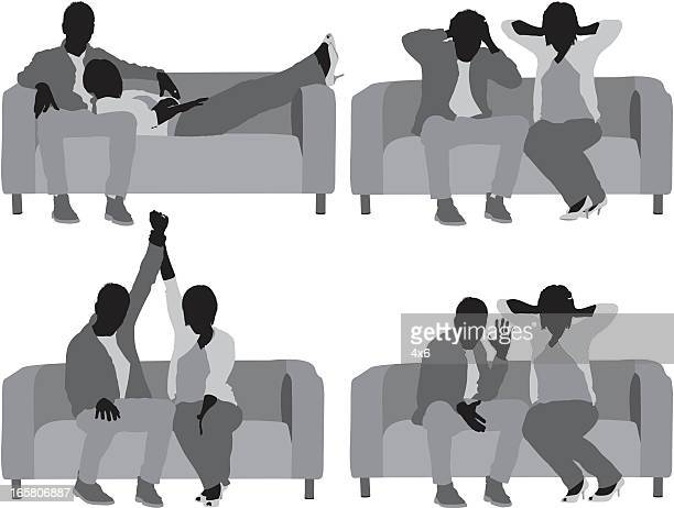 Multiple images of a couple in different poses