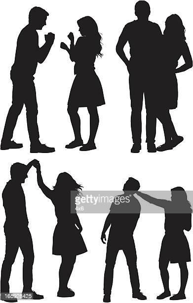 ilustraciones, imágenes clip art, dibujos animados e iconos de stock de varias imágenes de un par en diferentes poses - pareja bailando cuerpo entero