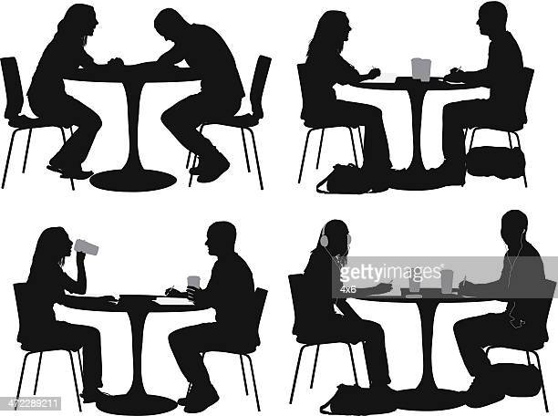 Multiple images of a couple in restaurant