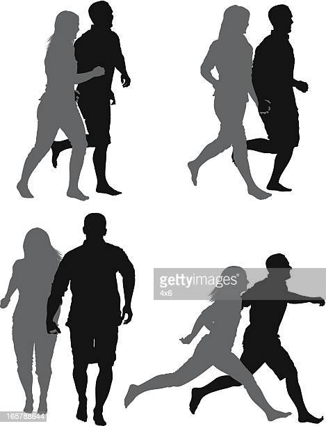 Multiple images of a couple jogging