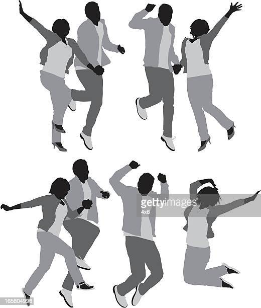multiple images of a couple jumping - girlfriend stock illustrations, clip art, cartoons, & icons