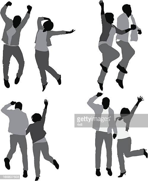 Multiple images of a couple jumping