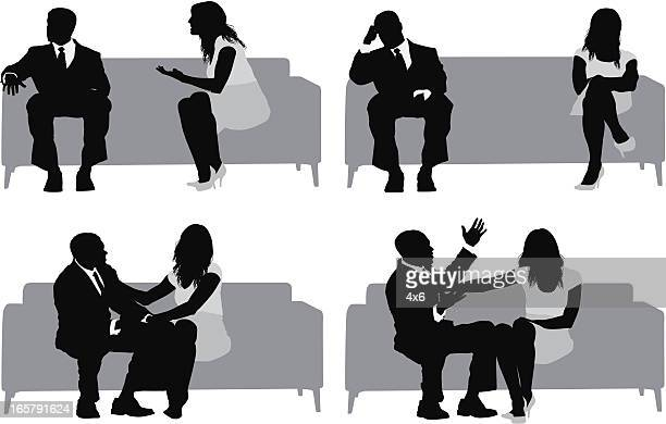 multiple images of a couple sitting on couch - relationship difficulties stock illustrations