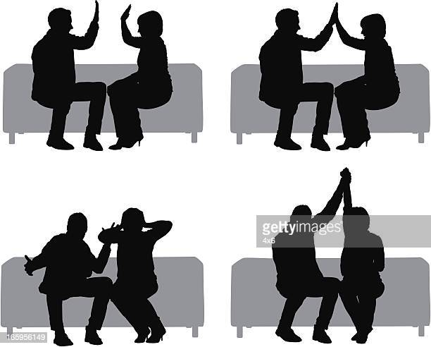 Multiple images of a couple sitting on couch