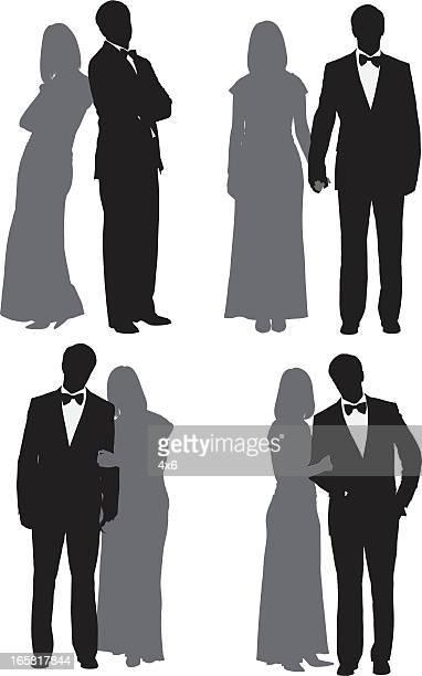 illustrations, cliparts, dessins animés et icônes de plusieurs images d'un couple - femme bcbg