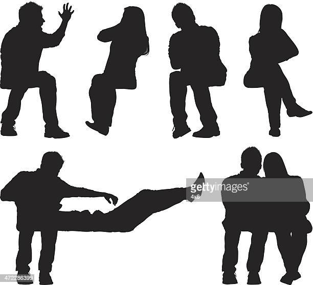 multiple images of a couple - relationship difficulties stock illustrations